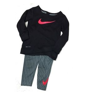 Nike Black and Grey With Pink Swoosh Set